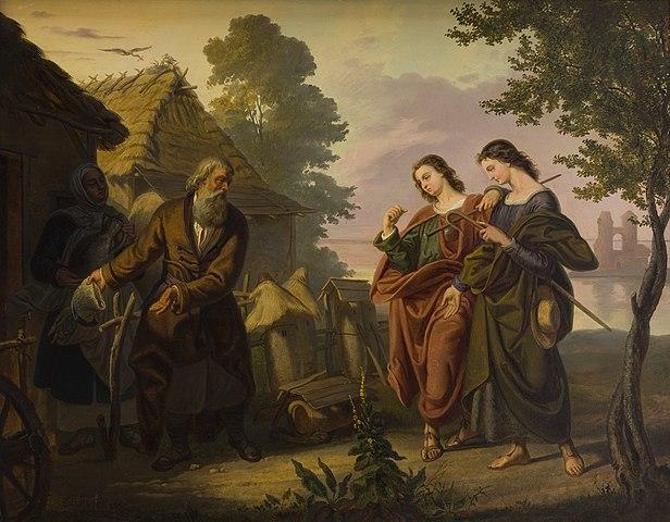 The painting of Korneli Szlegel depicting pilgrims visiting Piast