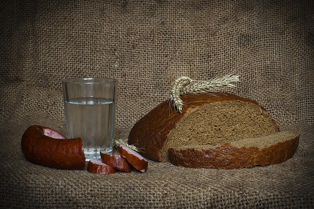 Polish vodka, kiełbasa and bread