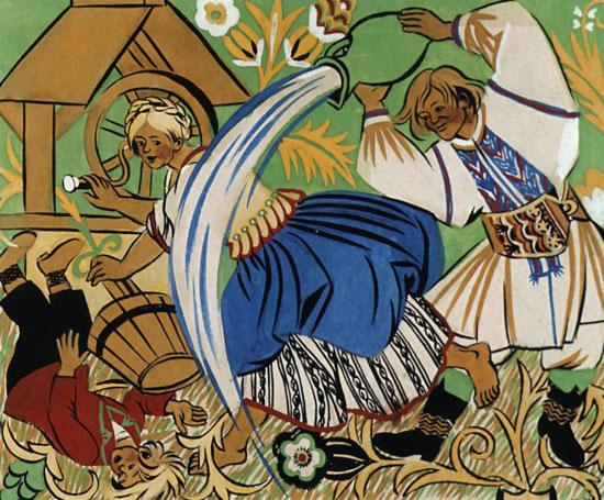 """Painting """"Dyngus"""" by Zofia Stryjeńska."""