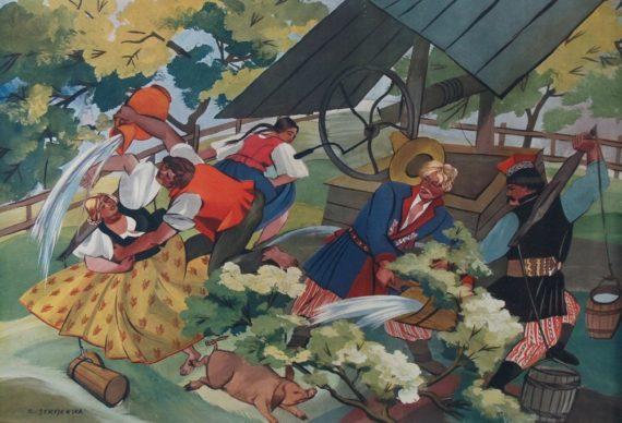 Śmigus Dyngus depicted by Zofia Stryjeńska.